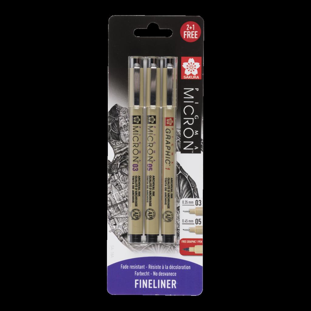 Sakura Pigma Micron set van 2 fineliners + 1 gratis pen