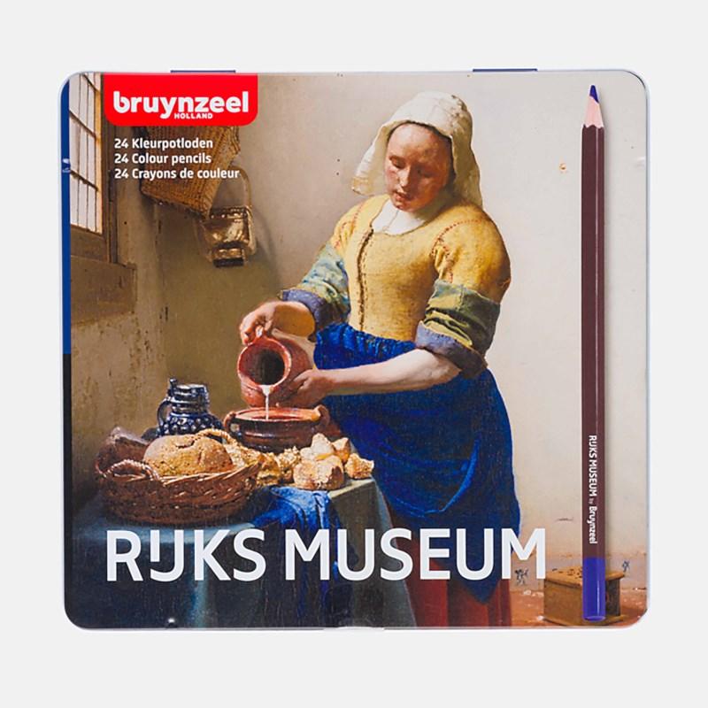 Bruynzeel blik met 24 kleurpotloden: Het Melkmeisje