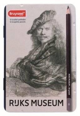 Bruynzeel blik met 12 grafietpotloden: Rijks museum